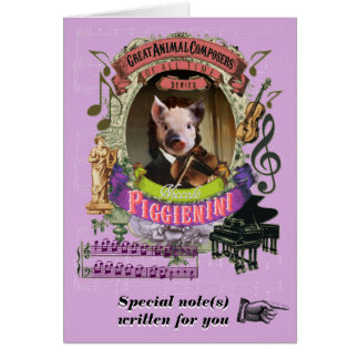 Porcelet animal de compositeur de Piggienini de Carte De Vœux