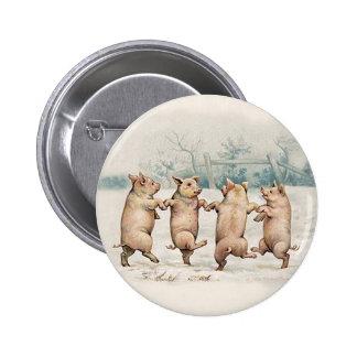 Porcs mignons et drôles de danse - cru anthropomor badge rond 5 cm