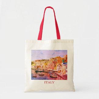 Port de pêche vintage d'art de l'Italie dans Sac En Toile Budget
