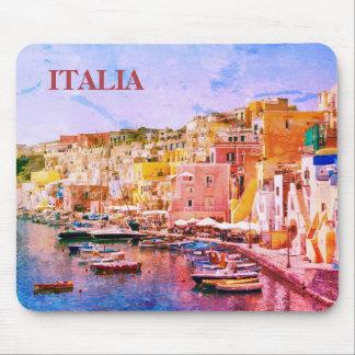 Port de pêche vintage d'art de l'Italie de Procida Tapis De Souris