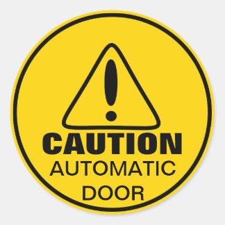 Porte automatique de signe de précaution sticker rond
