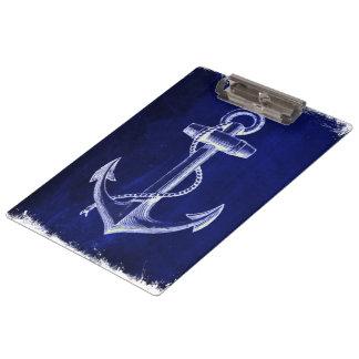Porte-bloc ancre nautique chic côtière de bleu marine de