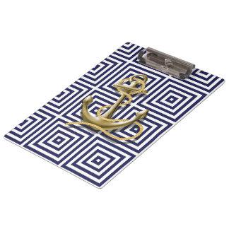 Porte-bloc Ancre nautique de motif grec bleu méditerranéen