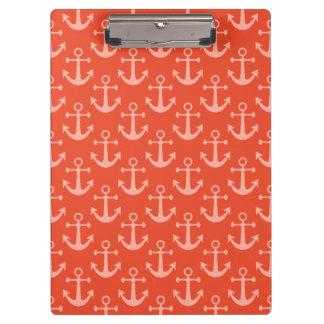 Porte-bloc Ancres nautiques dans le joli motif rose de corail