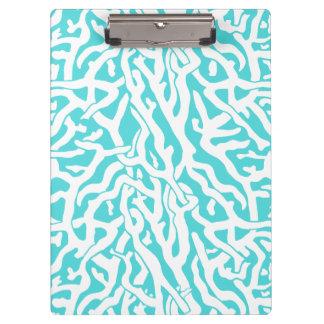 Porte-bloc Bleu blanc nautique de motif de récif coralien de