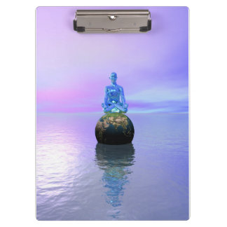 Porte-bloc bleu et monde de Bouddha