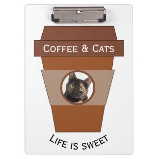 Porte-bloc Café et chats personnalisables - la vie est douce