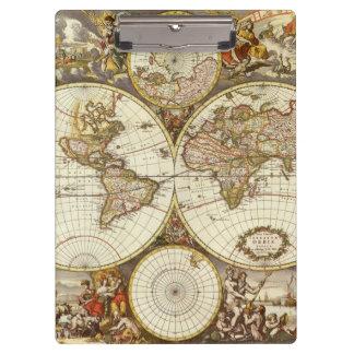 Porte-bloc Carte antique du monde, C. 1680. Par Frederick de