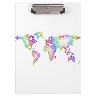 Porte-bloc Carte du monde d'arc-en-ciel