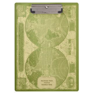 Porte-bloc Carte vintage du monde d'or antique vert
