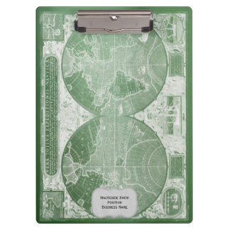 Porte-bloc Carte vintage verte du monde personnalisée