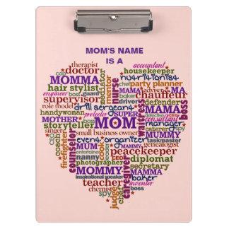 Porte-bloc Coeur mignon d'art de mot du jour de mère de maman