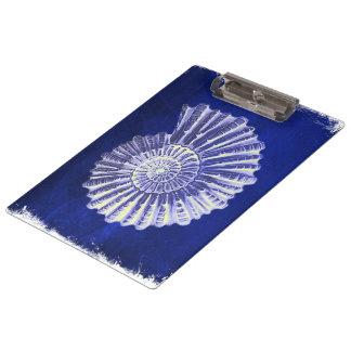 Porte-bloc coquillage blanc bleu côtier botanique vintage