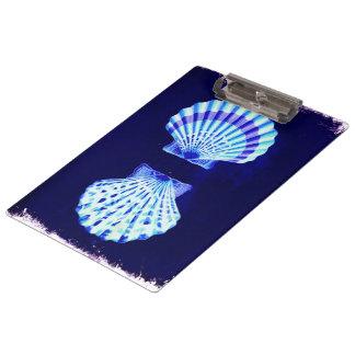 Porte-bloc coquillages bleus nautiques rustiques de plage
