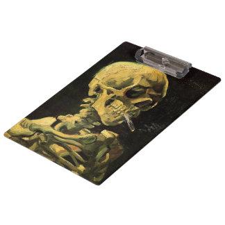 Porte-bloc Crâne de Van Gogh avec la cigarette brûlante, art