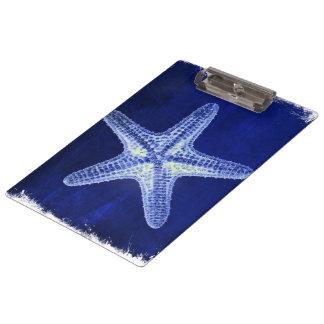 Porte-bloc étoiles de mer bleues nautiques rustiques de plage