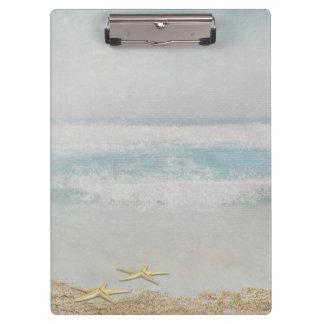 Porte-bloc étoiles de mer sur l'aquarelle de plage d'océan