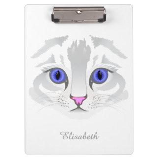 Porte-bloc Fin blanche mignonne de visage de chat tigré vers