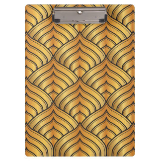 Gold Pine Comb and Black Ink Art Deco Pattern