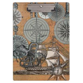 Porte-bloc Poulpe vintage de conception d'impression nautique