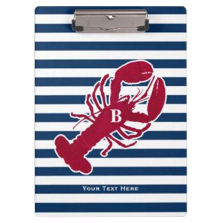Porte-bloc Rayure blanche bleue de monogramme rouge nautique