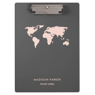 Porte-bloc Rougissent la carte du monde du gris rose et
