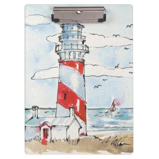 Porte-bloc Scène rouge et blanche de phare