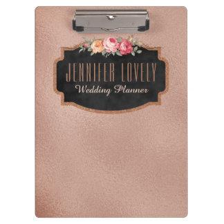 Porte-bloc Tableau rose personnalisé de feuille d'or floral