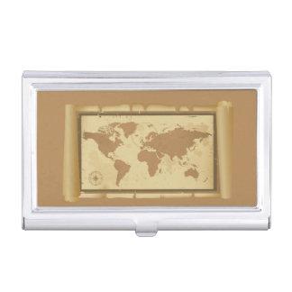 Porte-cartes de carte de visite de carte du monde porte-cartes de visite