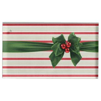 Porte-cartes De Table Arc de Noël avec l'arrière - plan de stripey