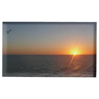 Porte-cartes De Table Lever de soleil au paysage marin d'horizon d'océan