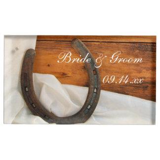 Porte-cartes De Table Mariage campagnard de fer à cheval et de satin