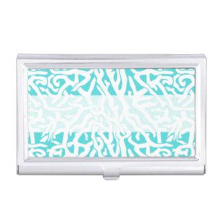 Porte-cartes De Visite Bleu blanc nautique de motif de récif coralien de
