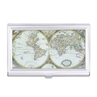 Porte-cartes De Visite Carte antique du 17ème siècle du monde, Frederick