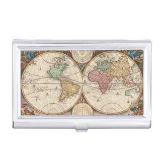 Porte-cartes De Visite Carte antique du monde dans deux hémisphères