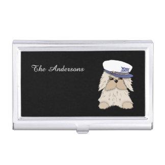 Porte-cartes De Visite Chiot de marin dans Hat de capitaine
