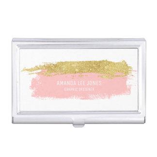 Porte-cartes De Visite Courses de brosse de scintillement de rose et d'or