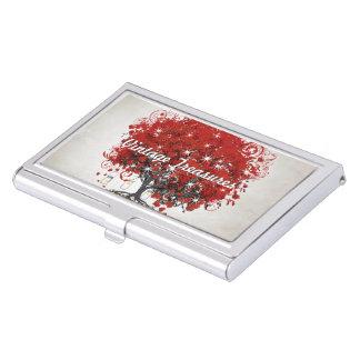 Porte-cartes De Visite L'arbre rouge de feuille de coeur personnalisent