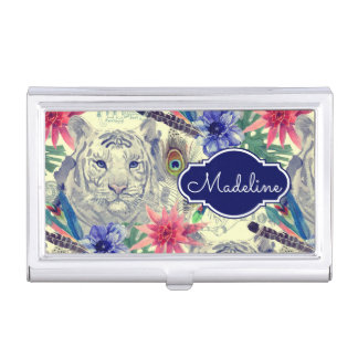 Porte-cartes De Visite Le motif indien vintage | de tigre de style