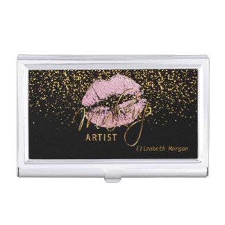 Porte-cartes De Visite Lèvres de scintillement et confettis roses d'or