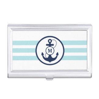 Porte-cartes De Visite Monogramme nautique bleu-clair d'ancre
