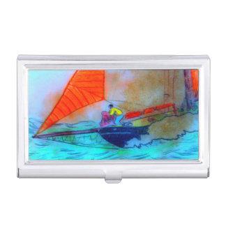 Porte-cartes De Visite navigation rouge de schooner de voile
