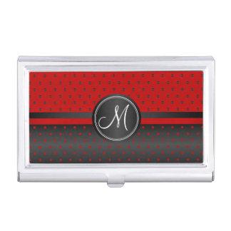 Porte-cartes De Visite Pois noir et rouge de monogramme
