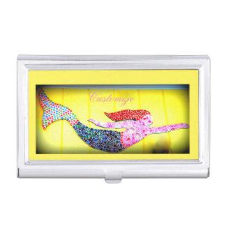 Porte-cartes De Visite sirène rose de natation de mosaïque