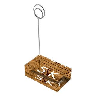 Porte-cartes en bois rustique de Tableau de monogr Porte-carte De Table