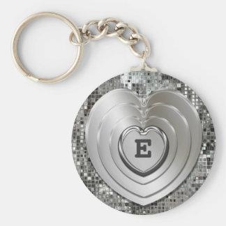 Porte - clé argenté initial de coeurs porte-clés