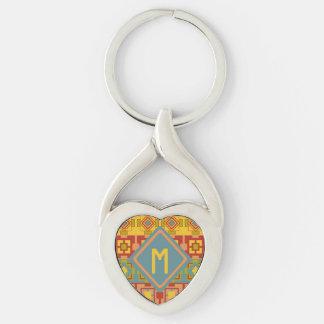 Porte - clé aztèque d'initiale de coeur en métal porte-clé argenté cœur torsadé