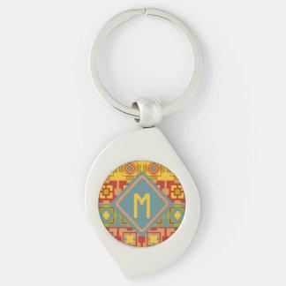 Porte - clé aztèque d'initiale de remous en métal porte-clé swirl argenté