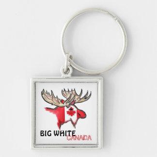 Porte - clé blanc rouge de grand du Canada d'élans Porte-clés