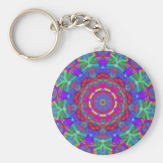 Porte - clé bleu de mandala d'univers porte-clé rond